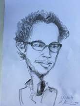 Caricature, pencil drawing